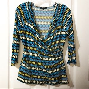Blue/Green Multicolor Faux Wrap Shirt